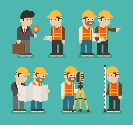 topografo: Conjunto de trabajador de la construcción, en formato vectorial