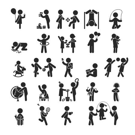 Conjunto de los niños actividades juegan y aprenden, iconos pictograma Humanos, formato vectorial
