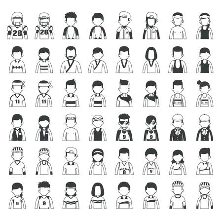 kick boxing: Set of cartoon sport characters ,  vector format