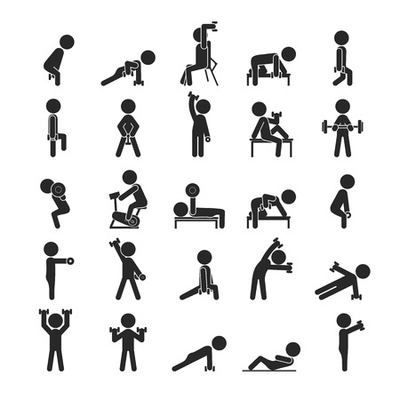 Set of dumbbell exercises character , Human pictogram Icons ,  vector format Illusztráció