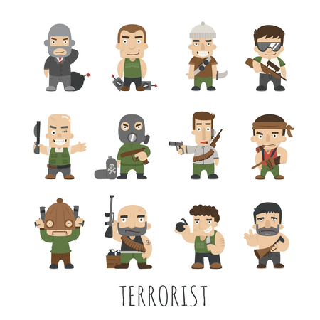 Terrorist Set , eps10 vector format Illustration