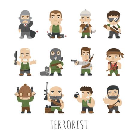 kidnapping: Terrorist Set , eps10 vector format Illustration