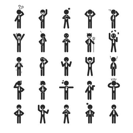 modest: Set of businessman emotion character , Human pictogram Icons ,  Illustration