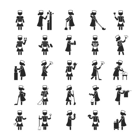 the maid: Set of maid  , Human pictogram Icons , vector format