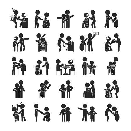 persona en silla de ruedas: Conjunto de carácter voluntario joven, iconos pictograma Humanos, formato vectorial