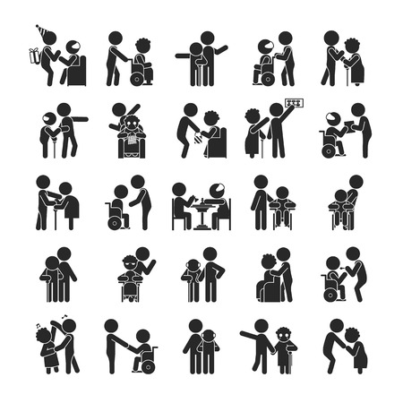 wheelchair: Set of young volunteer character , Human pictogram Icons , vector format