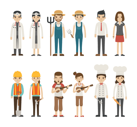 ukulele: Set of profession characters ,  vector format