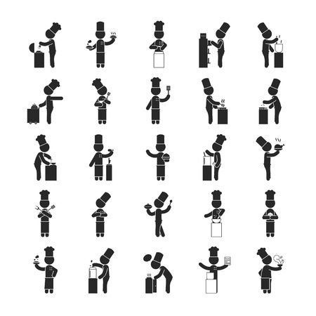 Set of chef  , Human pictogram Icons ,  vector format
