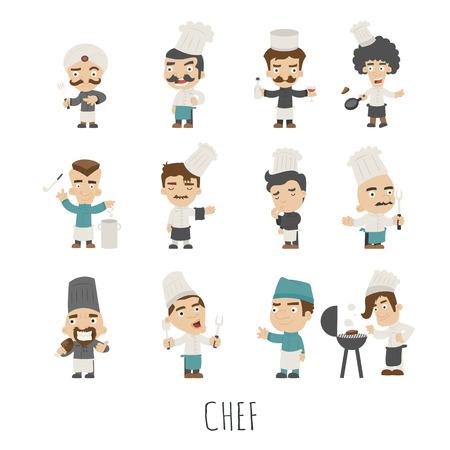 chef caricatura: Conjunto de caracteres cocinero de disfraces, formato vectorial