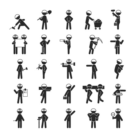 contractor: Set of Industrial contractors workers people , Human pictogram Icons , vector format Illustration