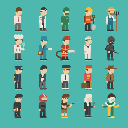 cowboy cartoon: Set of profession characters , vector format