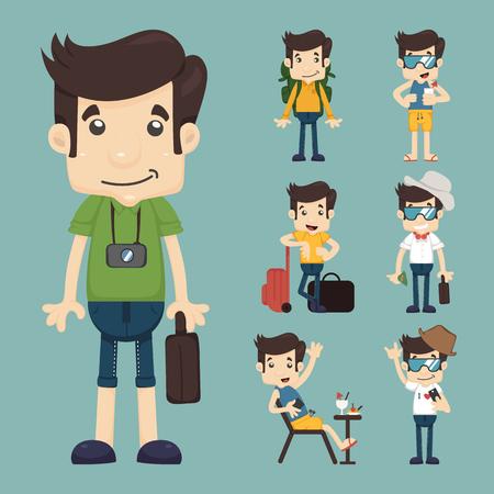 traveller: set of traveler people  , vector format Illustration