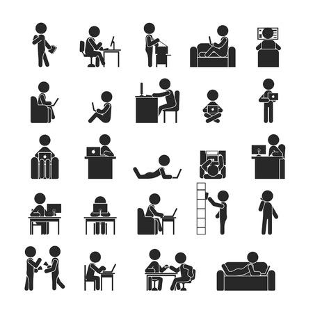 muchas personas: Conjunto de negocios que trabaja, iconos pictograma Humanos, formato vectorial Vectores