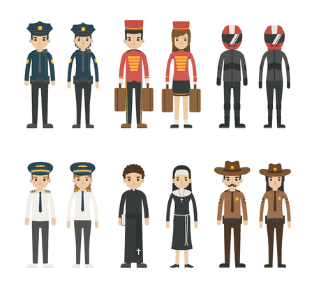 clothes cartoon: Set of profession characters , vector format
