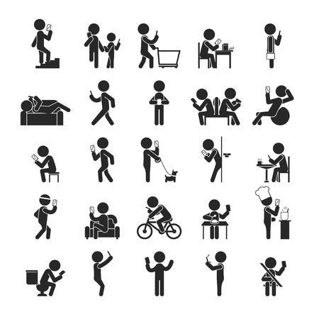 telefono caricatura: Conjunto de la adicci�n Smartphone, iconos pictograma Humanos, formato vectorial