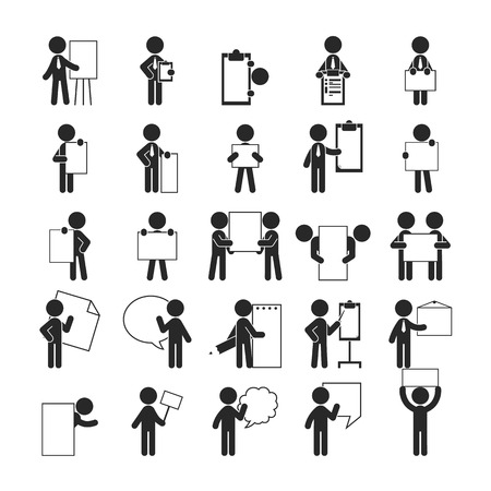 Set of businessman holding blank notes , Human pictogram Icons ,  vector format