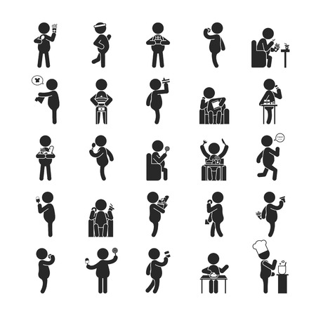 obeso: Conjunto de actividades humanas de grasa, iconos, pictograma Humanos formato vectorial eps10 Vectores