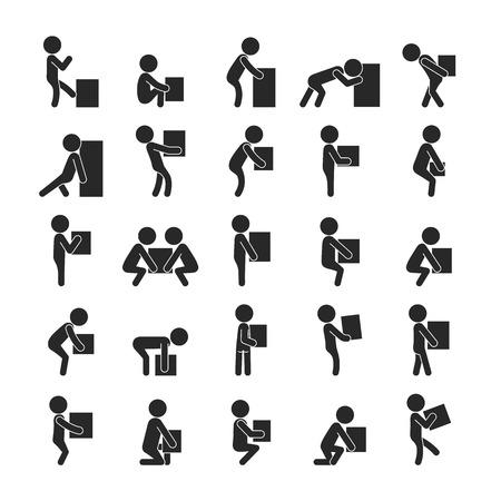 hombre fuerte: Conjunto de caja de hombre que se movía, iconos pictograma Humanos,