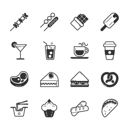 food illustrations: Set of fastfood icons , eps10 vector format