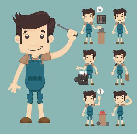 hombre caricatura: servicio de reparación, formato vectorial eps10