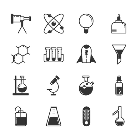 nuclear symbol icon: Set of science icons , eps10 vector format Illustration