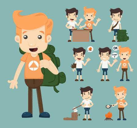 teenager: Set of camping boy character  , eps10 vector format
