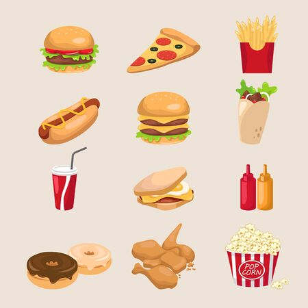 fried chicken: Set of fastfood , eps10 vector format