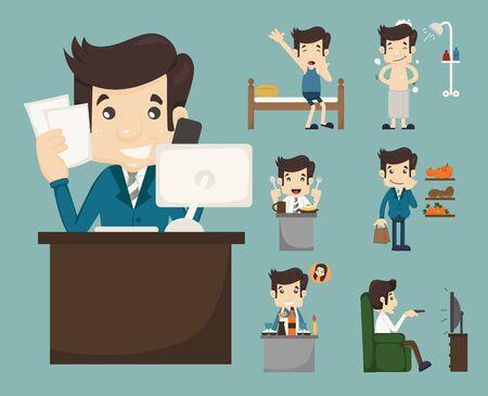 salaryman: Businessman routine , eps10 vector format Illustration