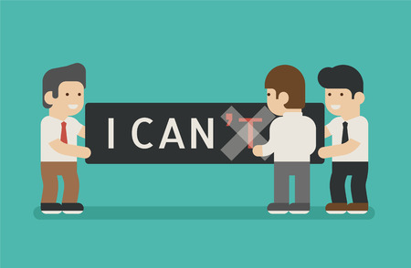 change concept: businessman change text I cant to I can , eps10 vector format