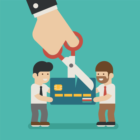 credit card payment: Hands cutting a credit card , eps10 vector format Illustration