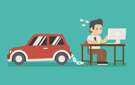 perspiration: businessman chained on work and a car , eps10 vector format