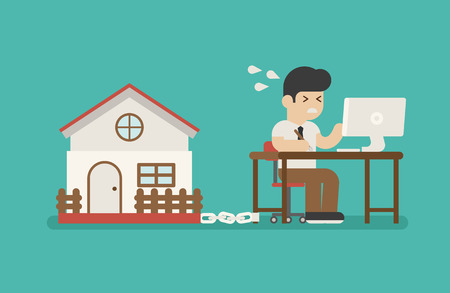 perspiration: businessman chained on work and a house  , eps10 vector format