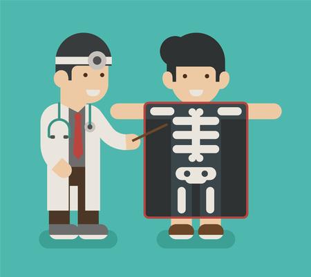 obrero caricatura: hombre de Yong con pantalla de rayos X que muestran esqueleto, formato vectorial eps10