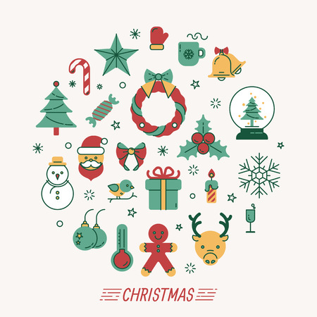 santa claus hats: Set of christmas icons , eps10 vector format Illustration