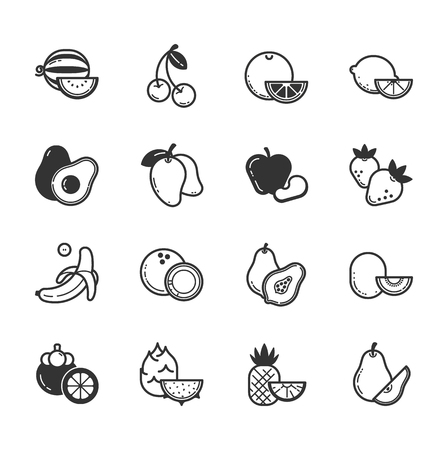 fruit illustration: Set of fruits and vegetables icons