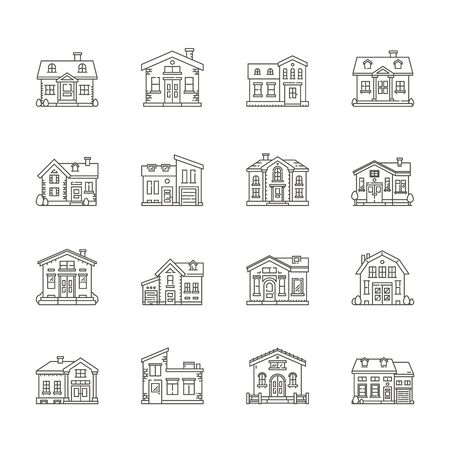 brick house: set of house icons , Real estate icons