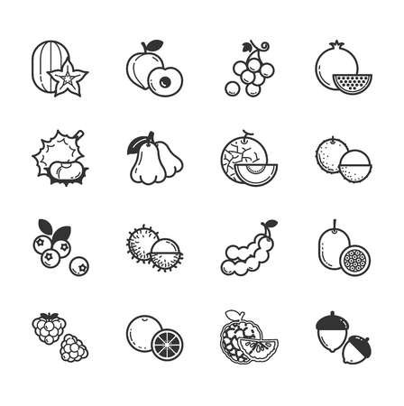 custard: Set of fruits and vegetables icons