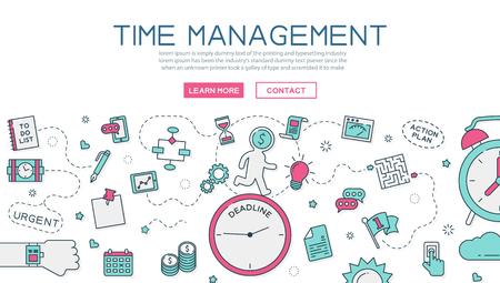 La gestión del tiempo para el sitio web banner y la página de destino