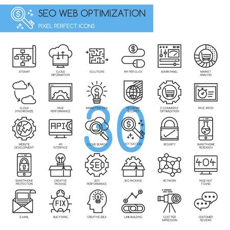 e pay: Search engine optimization , thin line icons set Illustration