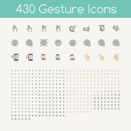 430 Gesten Symbole für Touch-Geräte, die Hände halten Smartphone
