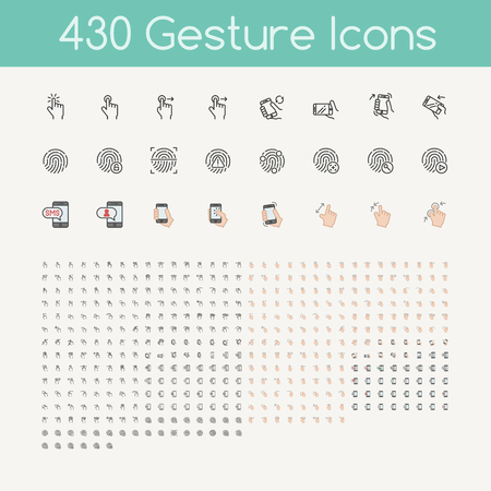 430 gesti icone per i dispositivi touch, smartphone mani che tengono