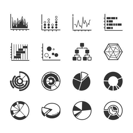 유행: 그래프 아이콘의 집합 일러스트