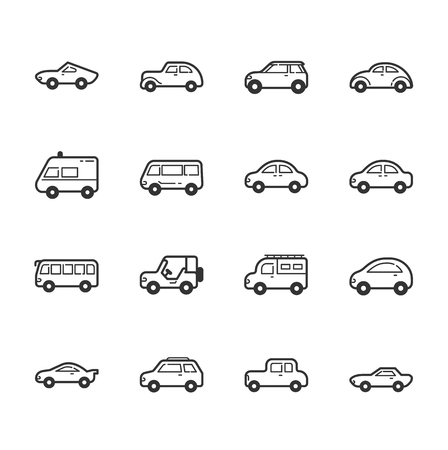 silhouette voiture: Ensemble d'icônes de voiture Illustration