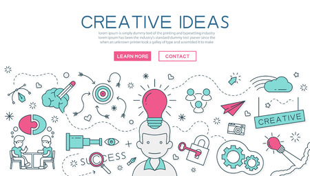 Creative Idea for website banner and landing page Stock Illustratie