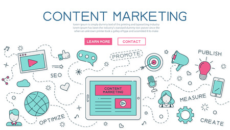 Content, marketing for website banner and landing page Vectores