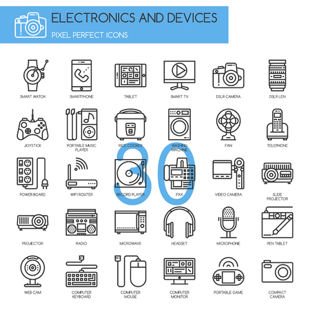 pixel perfect: Electronic and Devices , thin line icons set ,pixel perfect icons