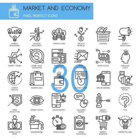 INVOICE: Market and Economy, thin line icons set