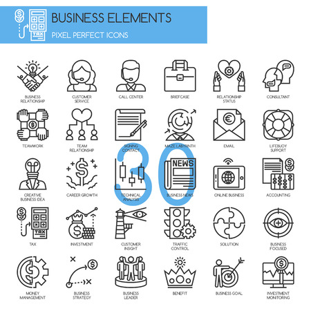 Business Elements, thin line icons set
