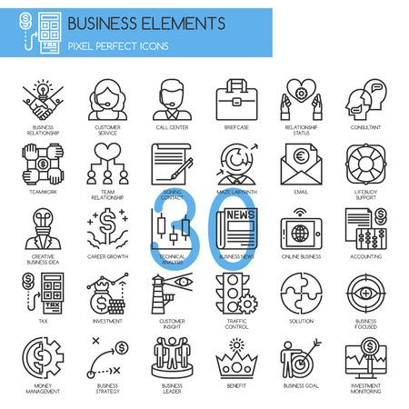 Elementi aziendali, icone linea sottile set Vettoriali