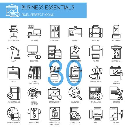 filing documents: Business Essentials, thin line icons set